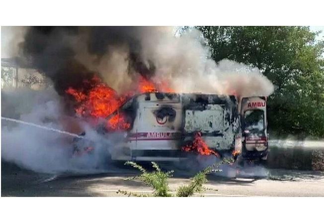 Antalya'ya desteğe giden Yalova 112 ambulansı ateş aldı
