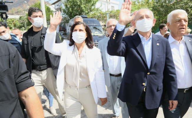 Kılıçdaroğlu ile Çerçioğlu yangınzedeleri ziyaret etti