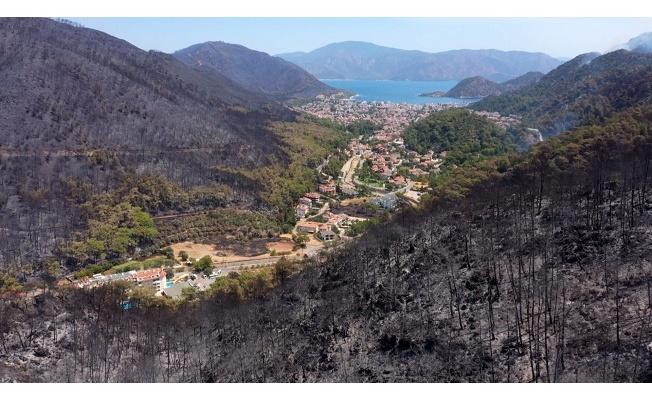 Yangın öncesi ve sonrası görüntüler, felaketin boyutunu gözler önüne serdi
